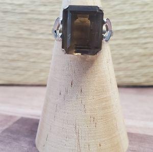 Sterling silver smokey topaz ring